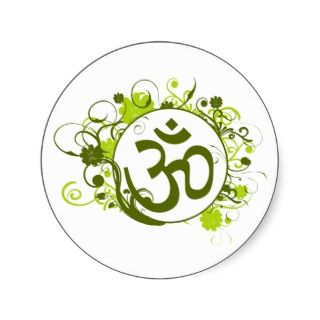 Buddhist Green Floral Om Round Stickers