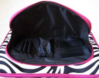 16 Computer Laptop Briefcase Rolling Bag Pink Zebra