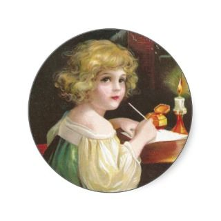 Girl Writing a Letter to Santa Vintage Christmas Sticker