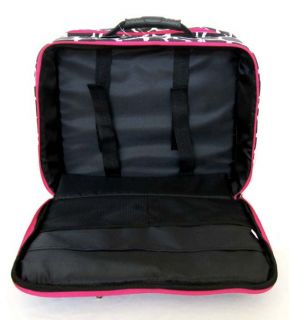 16 Computer Laptop Briefcase Rolling Wheel Travel Bag Luggage Pink