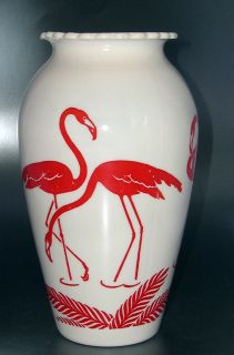 Very RARE Fire King Red Flamingo White Hoover Vitrock Anchor Hocking