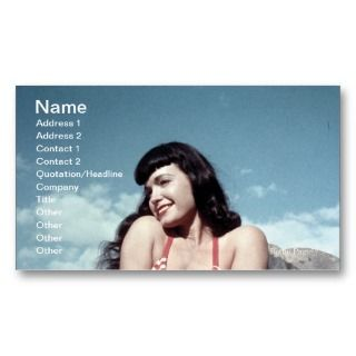 Bettie Page Vintage Pinup Girl in Red Bikini Business Card Templates