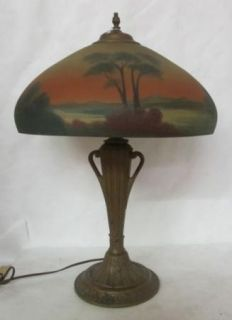 Beautiful Pittsburgh Style Reverse Painted Scenic Lamp