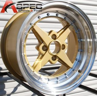 15X8 ROTA ZERO PLUS 4X100 +0 ROYAL TOMMY GOLD WHEEL FITS GOLF JETTA