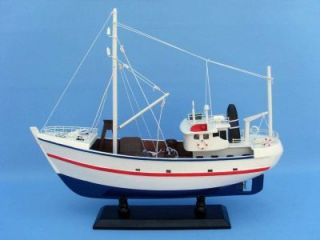Fine Catch 17 Wood Fishing Boat Model Nautial Decor