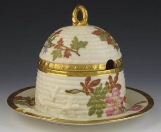 Royal Worcester Bee Hive Honey Pot 1889