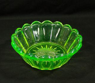 Antique Victorian Uranium Vaseline Glass Bowl Dish