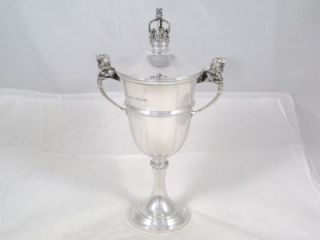 Antique Sterling Silver Lion Handle Wine Cup or Goblet & Crowned Cover