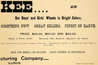 1896 Ad Kee Wheels Bicycle Pricing Illinois Bike Rider Wheels American