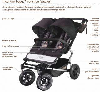 New Mountain Buggy Flint Duet Compact Slim Light Weight Child Double