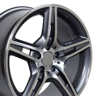 17 AMG Wheels Gunmetal Set of 4 Rims Fit Mercedes C E s Class SLK CLK