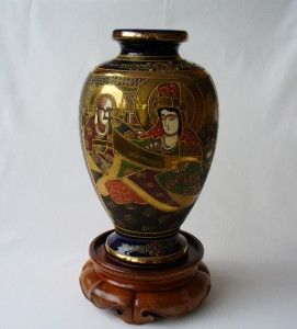 19th c Japanese Satsuma Vase Cobalt Blue With Moriage Ware & Gilt