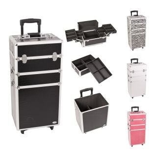 Cosmetic Salon Hair Makeup Train Case Organizer Wheels Black Pink Croc