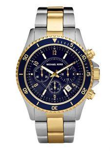Michael Kors Mens Two Tone Blue Dial Chronograph Watch MK8175