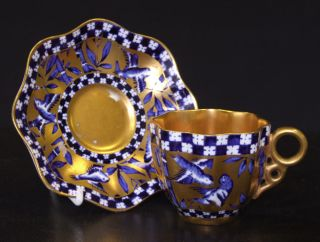 Antique Coalport Aesthetic Cabinet Cup & Saucer   Blue Birds & Heavily