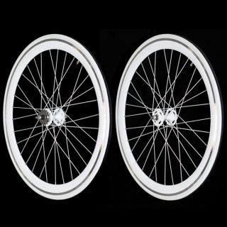 Fixie Single Speed Road Bike Track Wheel Wheelset Deep V Tyres White