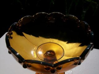 Vintage Amber Garland Tear Drop Indiana Carnival Glass Compote Footed