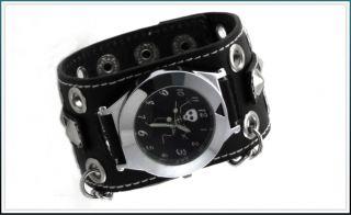 New Black Skeleton Leather Quarz Men Cuff Watch W243