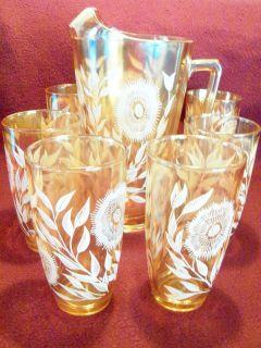 1940s Sunflower Marigold Carnival Glass Pitcher Set, Jeanette Glass Co