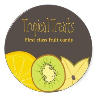 tropical fruit baking kitchen gift tag stickers