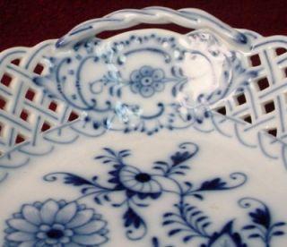 Meissen China Blue Onion Pierced Oval Open Handled Basket Oval Stamp