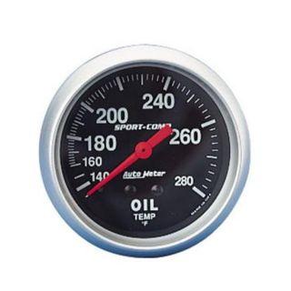 New Auto Meter Sport Comp Oil Temperature Temp Gauge Black 2 5 8