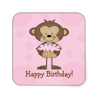 Cupcake Monkey Happy Birthday Square Sticker