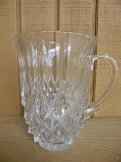 Val St Lambert Crystal Diamond Point Water Pitcher