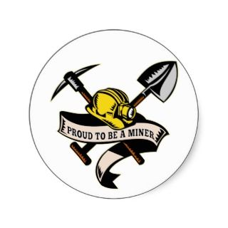 coal miner hat shovel spade pickax scroll sticker