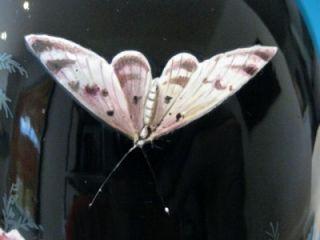 Antique Moser Black Glass Enamel Floral Butterfly Moth Vase c1880 33