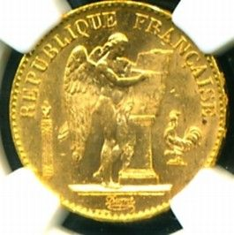 1893 FRANCE ANGEL GOLD COIN 20 FRANCS * NGC CERTIFIED GENUINE & GRADED