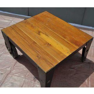 Teak Wood Iron Metal Industrial Cart on Wheels Coffee Table