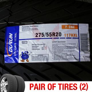 Set of 2 New 275 55R20 Durun F One Two Tires 1 Pair 275 55 20 2755520