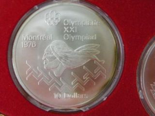 1976 Montreal Olympic Sterling Silver 4 Coin Set 925 Canada Canadian