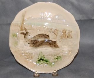 French Majolica Pottery Rabbit Plate Higgins and Seiter NY Old Repairs