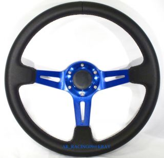 JDM Drift Steering Wheel 350mm Blue Civic s14 s13 EVO
