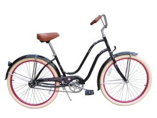 New 26 Beach Cruiser Bicycle Lady Sakura Black
