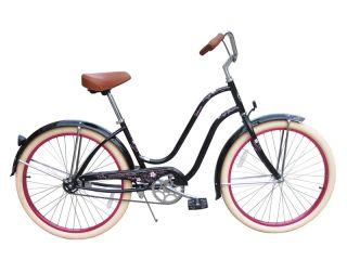 New 26 Beach Cruiser Bicycle Lady Sakura Black