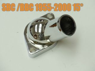 15° Degree Chrome Water Neck Thermostat Housing SBC BBC Chevy 1955