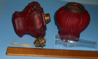 CA 1890s Red Satin Glass Miniature Gone with The Wind GWTW Oil Lamp