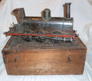 Antique Charles Rossignol Tin Toy Train in Wooden Box 19thC Quest C R