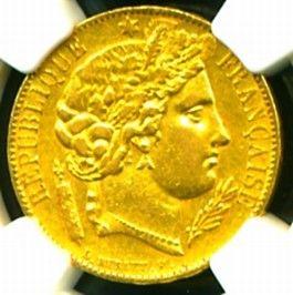 1850 A France Ceres Gold Coin 20 Francs NGC Certif Genuine Graded Gem