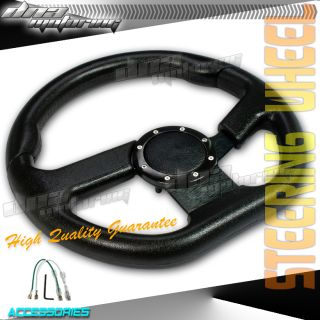 Black Black Leather Center PVC Leather 320mm Racing Steering Wheel