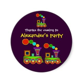 Kids birthday Thank You Stickers Train