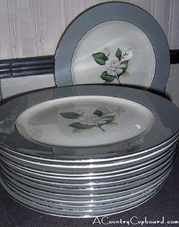 Vintage Homer Laughlin 9 Plate White Rose Gray Rim 342