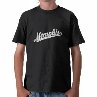 Memphis script logo in white distressed tee shirts