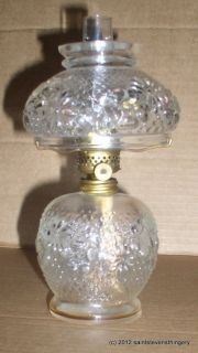 Antique Cosmos Pattern Clear Glass Miniature Mini Oil Lamp Complete