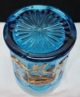 1910 Northwood EAPG Oriental Poppy Blue Glass Tumbler Heavy Gold Crisp
