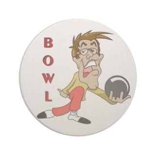 funny bowling man cartoon character beverage coaster