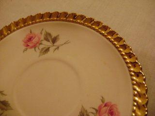 1960s VTG Dixon Art Studios 22 KT Gold Pink Rose Tea Cup & Saucer Set